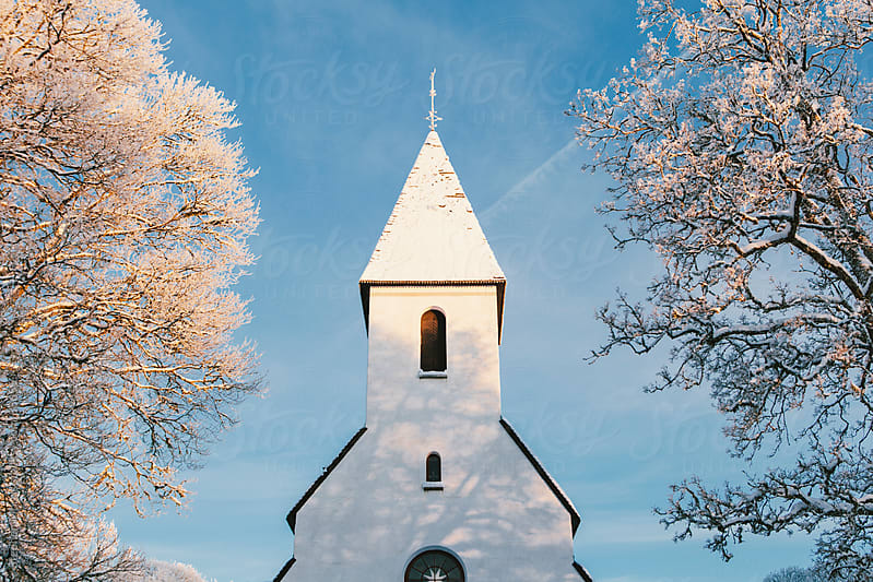 White Church Steeple and Snowy Trees by Stephen Morris for Stocksy United