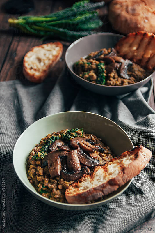 Creamy lentils with mushrooms by Nataša Mandić for Stocksy United
