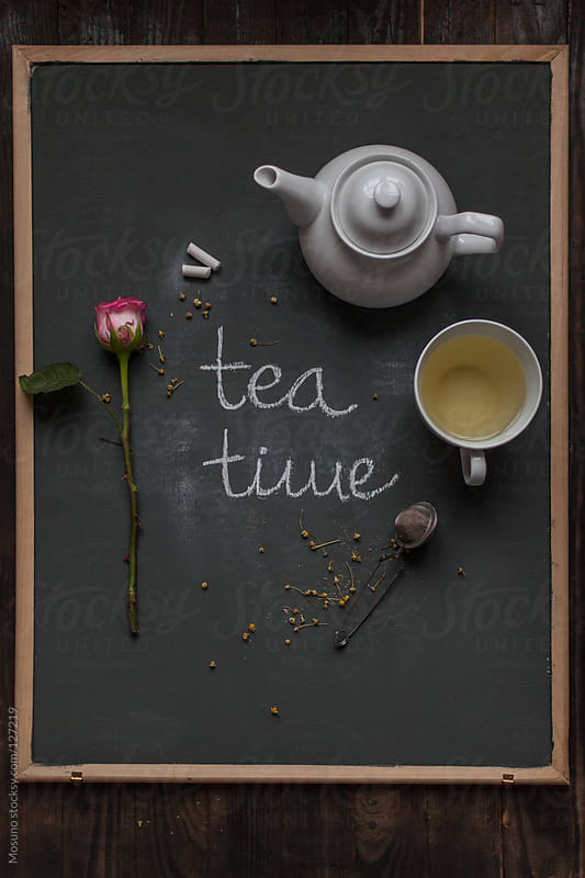 Tea Time Written on a Board by Mosuno for Stocksy United