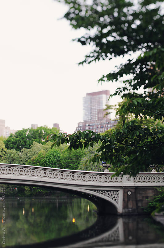 A bridge in Central Park overlooking the skyline in Manhattan by Chelsea Victoria for Stocksy United