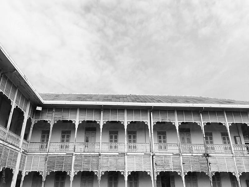 old colonial style wooden building,monochrome by jira Saki for Stocksy United