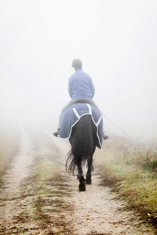 Rear sight of woman riding horse with caparison on in foggy morning by Laura Stolfi for Stocksy United