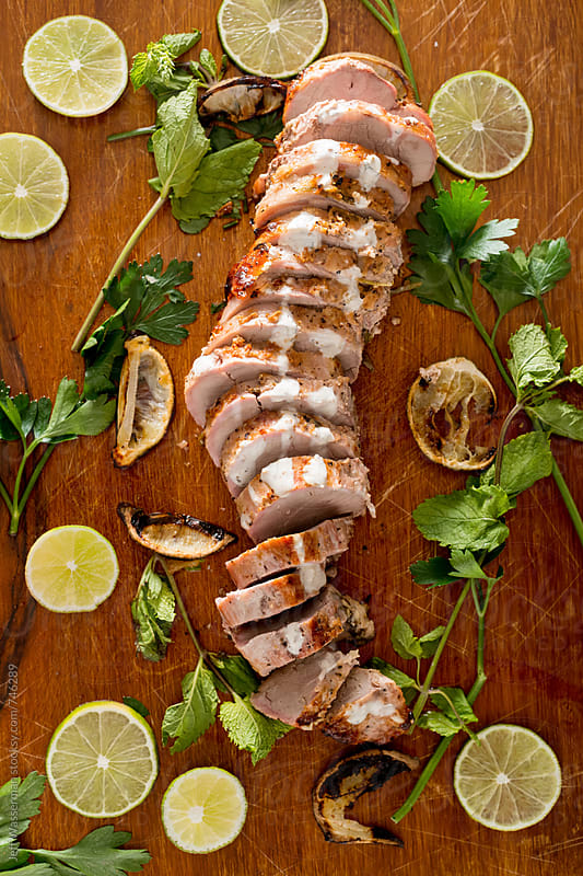 Sliced Cooked Marinated Pork Tenderloin by Jeff Wasserman for Stocksy United