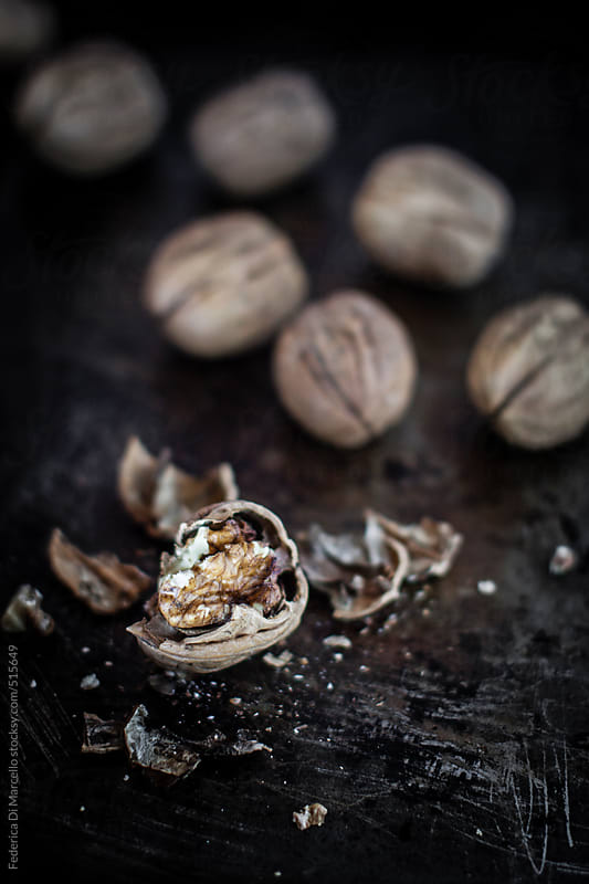 Crushed walnuts  by Federica Di Marcello for Stocksy United