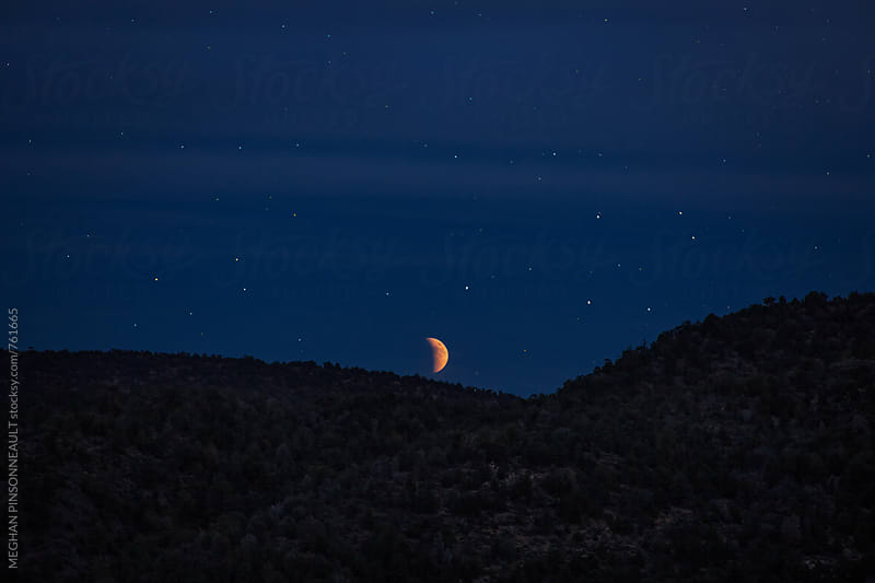 Blood Moon Rising During Eclipse by MEGHAN PINSONNEAULT for Stocksy United