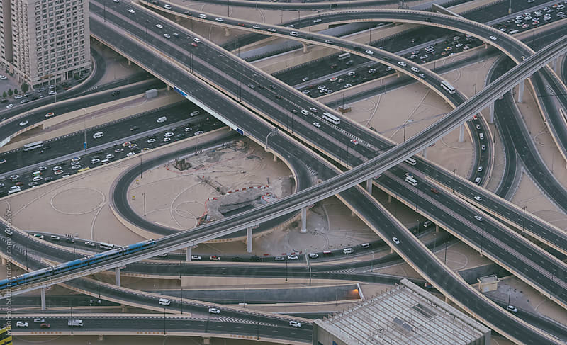 Aerial Photo of Dubai Highway Interchange by MaaHoo Studio for Stocksy United