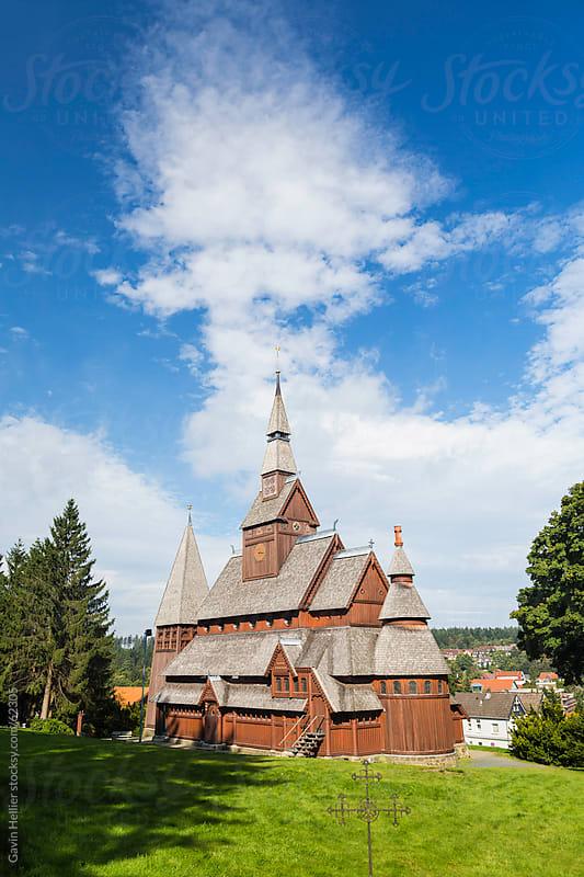 Gustav Adolf Stave Church, Hahnenklee, Goslar, Harz mountains, Lower Saxony, Germany by Gavin Hellier for Stocksy United
