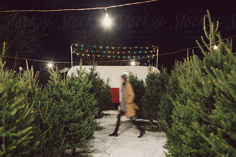A woman walking through a christmas tree lot by Ania Boniecka for Stocksy United