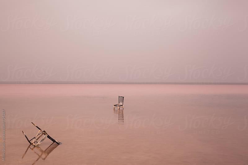 Broken chair in pink lake by Milles Studio for Stocksy United