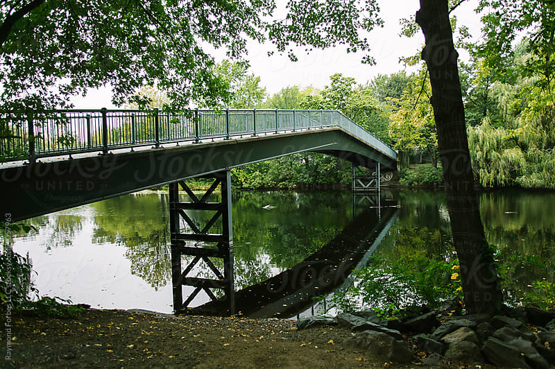Pedestrian Bridge in Autumn  by Raymond Forbes LLC for Stocksy United