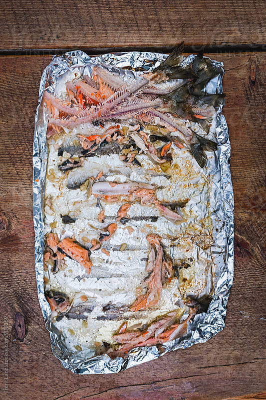 Fish bones leftovers in foil by Trent Lanz for Stocksy United
