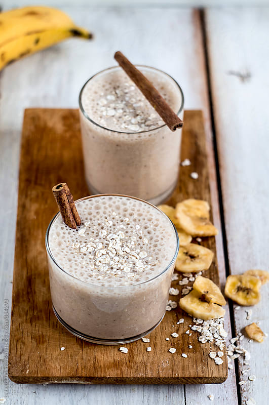 Banana smoothie by Babett Lupaneszku for Stocksy United