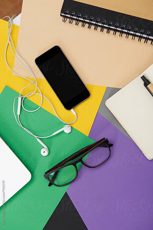 Colourful desk. by Jose Coello for Stocksy United