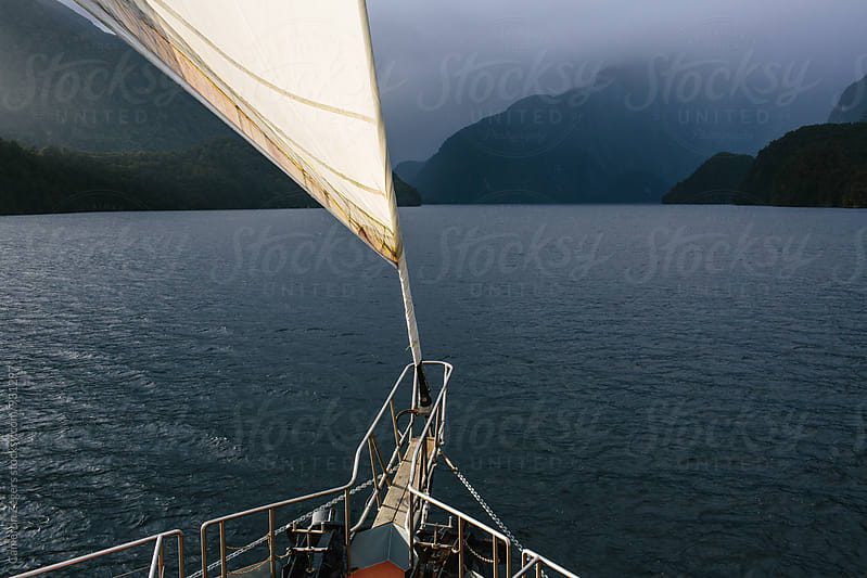 jib sail on cruise boat by Cameron Zegers for Stocksy United