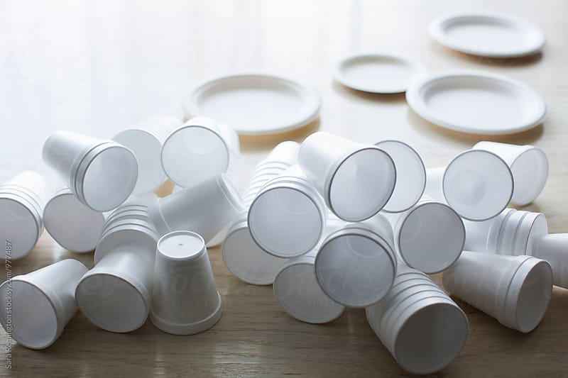 Styrofoam Cups and Plates by Sara Remington for Stocksy United
