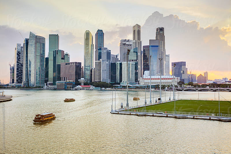 South East Asia, Singapore, Elevated view over the City Centre and Marina Bay by Gavin Hellier for Stocksy United