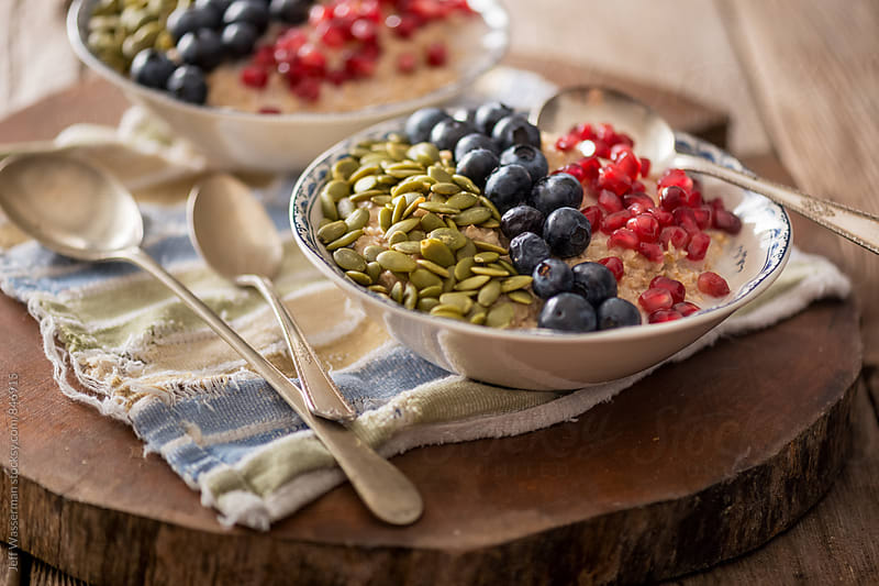 Healthy Oatmeal with Fruit and nuts by Studio Six for Stocksy United