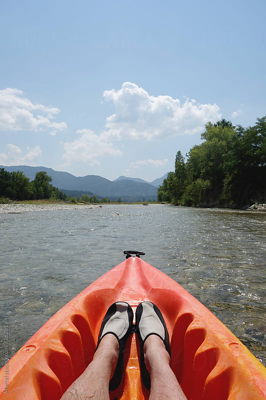 canoeing on a river in the south of France by Marcel for Stocksy United