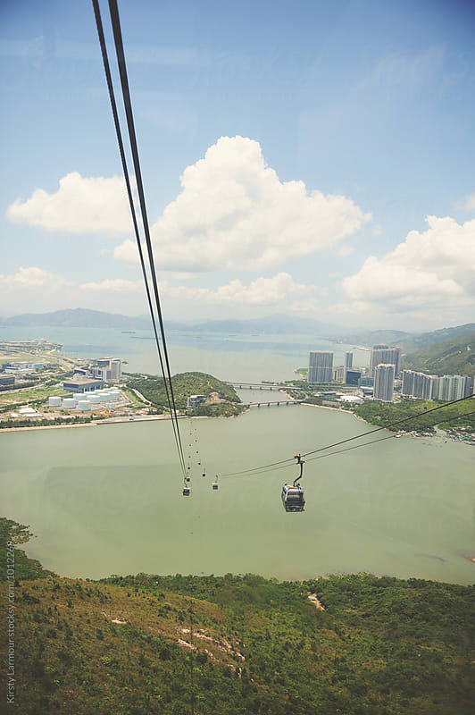 View from the cable car to Nong Ping Monastery, Hong Kong by Kirsty Larmour for Stocksy United