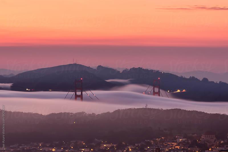 Fog Flowing through the Golden Gate by Joe Azure for Stocksy United