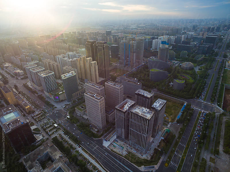aerial view of Chengdu city at sunset by Bo Bo for Stocksy United