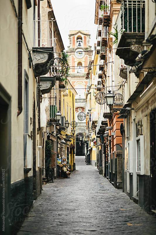 Narrow street in Sorrento, Italy by Aleksandar Novoselski for Stocksy United