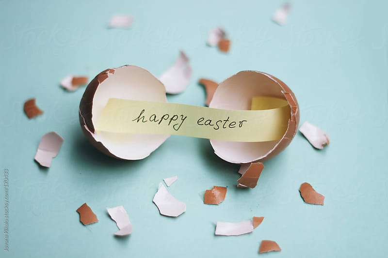 Happy Easter message in a eggshell by Jovana Rikalo for Stocksy United