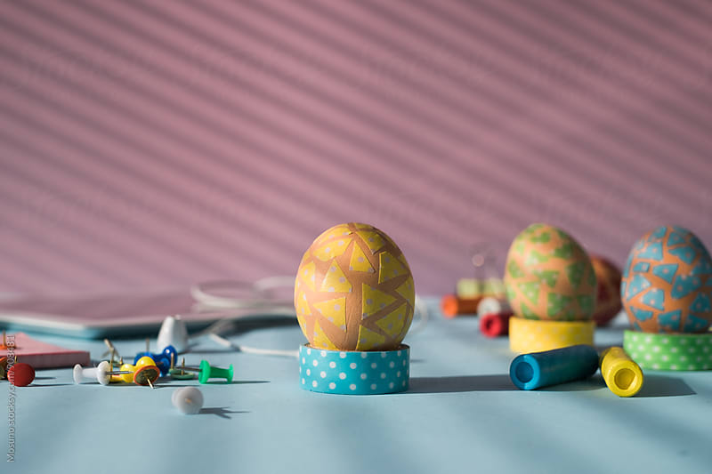 Easter Eggs on a Pastel Background by Mosuno for Stocksy United