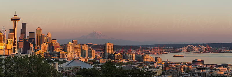 Seattle skyline and Mount Rainier, panoramic by Adam Nixon for Stocksy United
