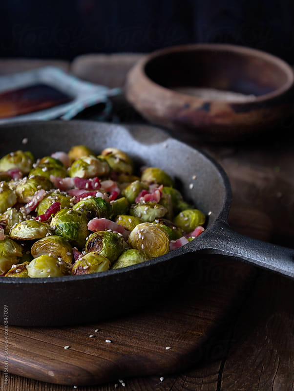 Brussels sprout and bacon salad by Pixel Stories for Stocksy United