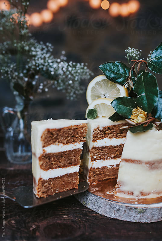 lemon layer cake slice by Thais Ramos Varela for Stocksy United