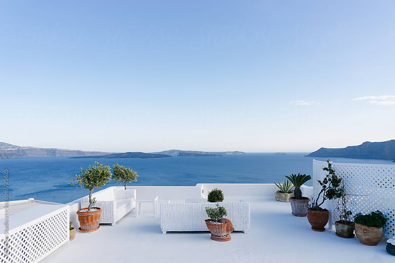 View from a balcony of Santorini by Maa Hoo for Stocksy United