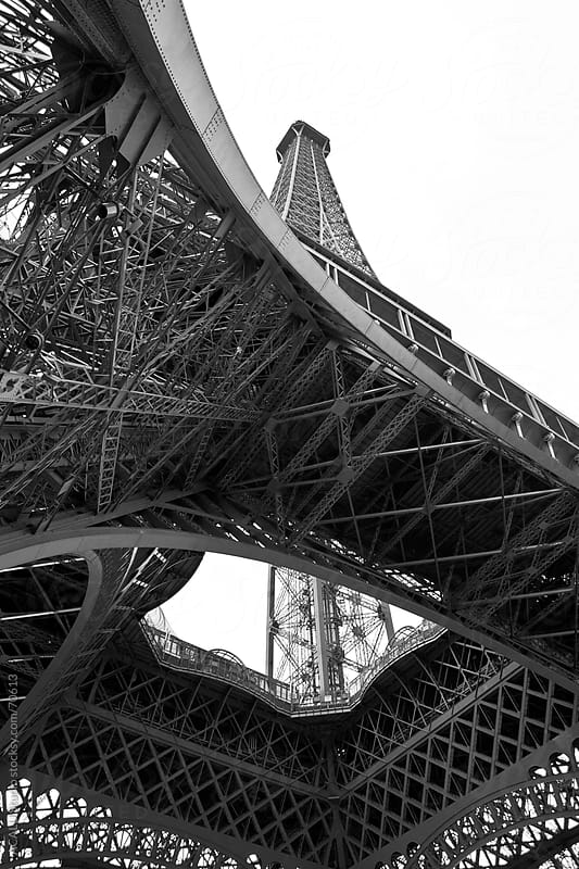 Views bottom of the Eiffel Tower in B&W by ACALU Studio for Stocksy United