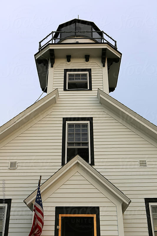 Front View Of The Mission Point Lighthouse In Nothern Michigan by ALICIA BOCK for Stocksy United