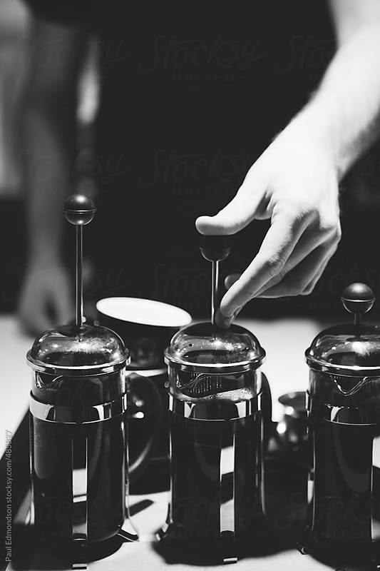 Close up of barista making French press coffee by Paul Edmondson for Stocksy United