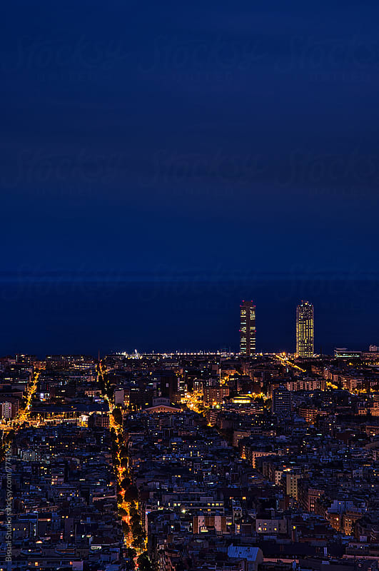 Barcelona at night  by Bisual Studio for Stocksy United