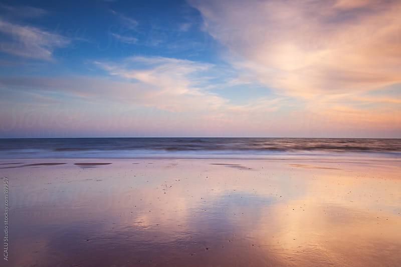 Reflections in Doñana Beach, Atlantic Ocean by ACALU Studio for Stocksy United