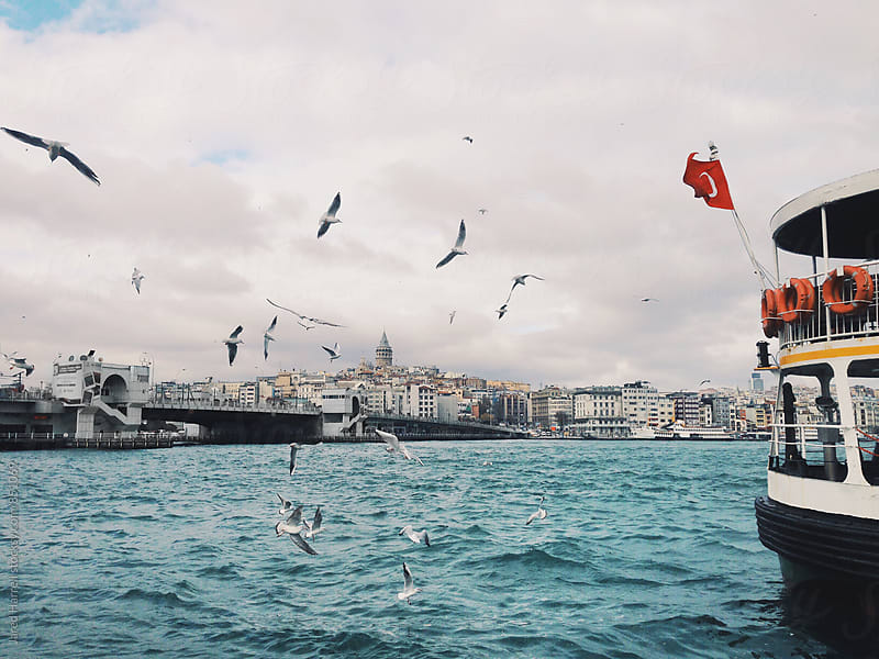 Ferry on the Bosphorus in Istanbul, Turkey by Jared Harrell for Stocksy United