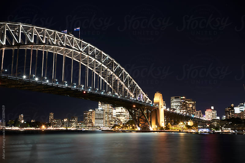 Sydney Harbour Bridge At Night by Adrian Young for Stocksy United