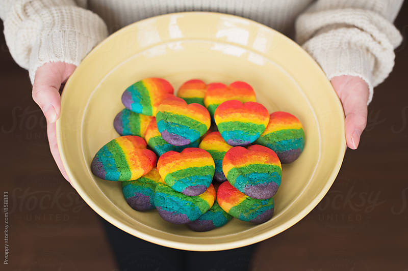 Rainbow heart shape cookies by Preappy for Stocksy United