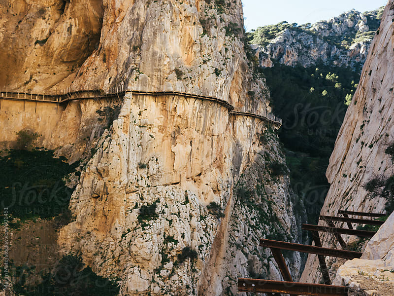 old caminito del rey path viewed from railway by Martin Matej for Stocksy United