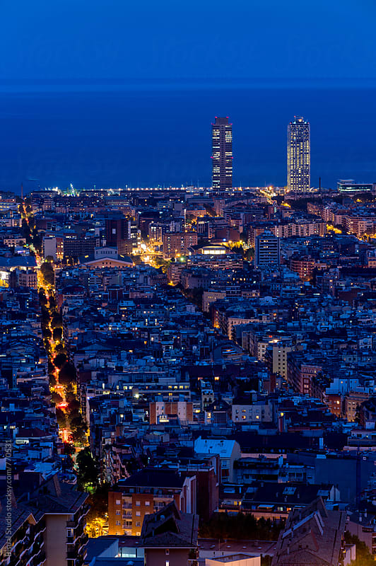 Barcelona at dawn by Bisual Studio for Stocksy United