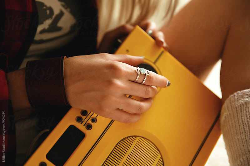 Girl with retro Radio by Milles Studio for Stocksy United