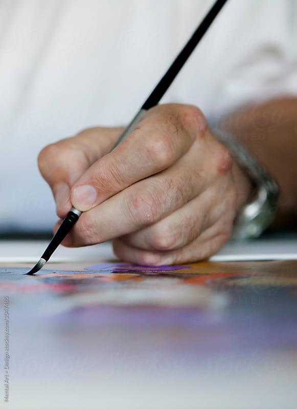 Hand. Retired, senior male. Artist working in his studio. by Mental Art + Design for Stocksy United