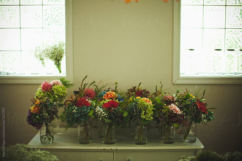 Flower Bouquets for a Wedding  by Kevin Gilgan for Stocksy United