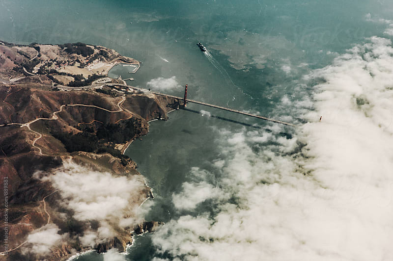 The Golden Gate Bride From Above by Benj Haisch for Stocksy United
