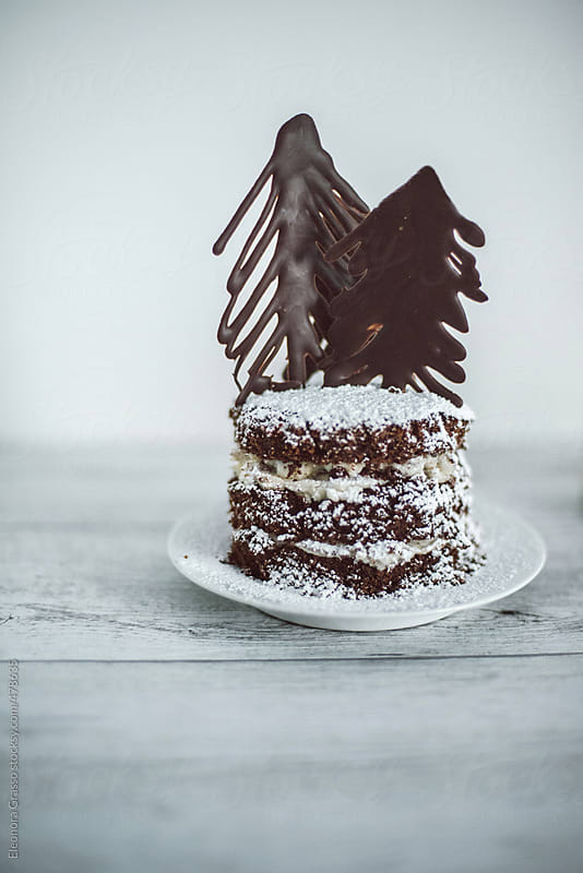 White forest cake for Christmas by Eleonora Grasso for Stocksy United