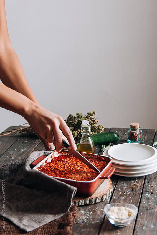 Homemade zucchini lasagna by Nataša Mandić for Stocksy United