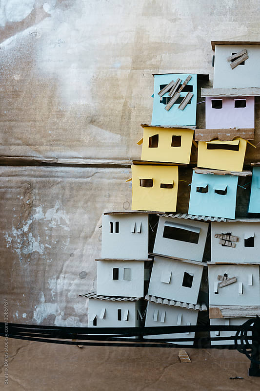 Paper architecture, slum city with copy space by Beatrix Boros for Stocksy United