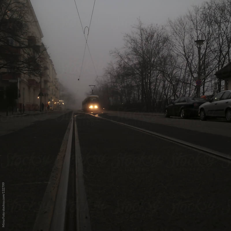 Tram rails and street in dusk by Mima Foto for Stocksy United